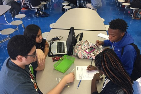 Students at the Energy Institute in HISD collaborate on a interdisciplinary project.