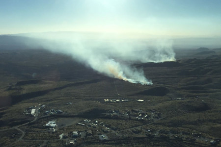 Aerial photo of the wildland fire burning