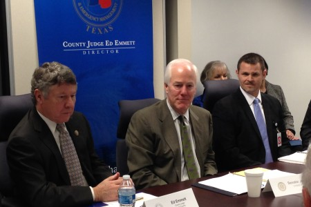 Harris County Judge Ed Emmett, U.S. Senator John Cornyn and Thomas McCabe, Supervisory Special Agent with the FBI attended a meeting of the Houston Joint Terrorism Task Force that took place in Houston TranStar.