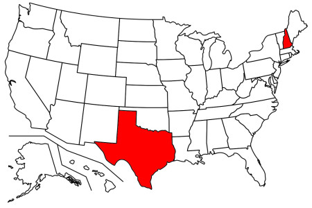 Texas and New Hampshire are shaded in on a us map