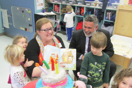 Secretary Michael Yudin read with preschoolers at the Bertha Alyce Early Childhood School in Houston on a trip to highlight and promote inclusion for special needs students.