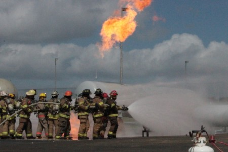 Volunteer firefighters training at Texas A&M's Disaster City in College Station