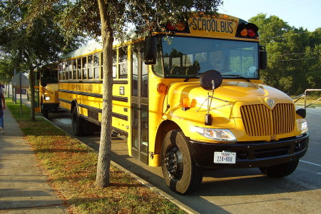 A Houston ISD CE300 school bus