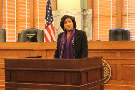 State District Judge Alexandra Smoots-Hogan speaks at Harris County District Clerk's Black History Celebration.