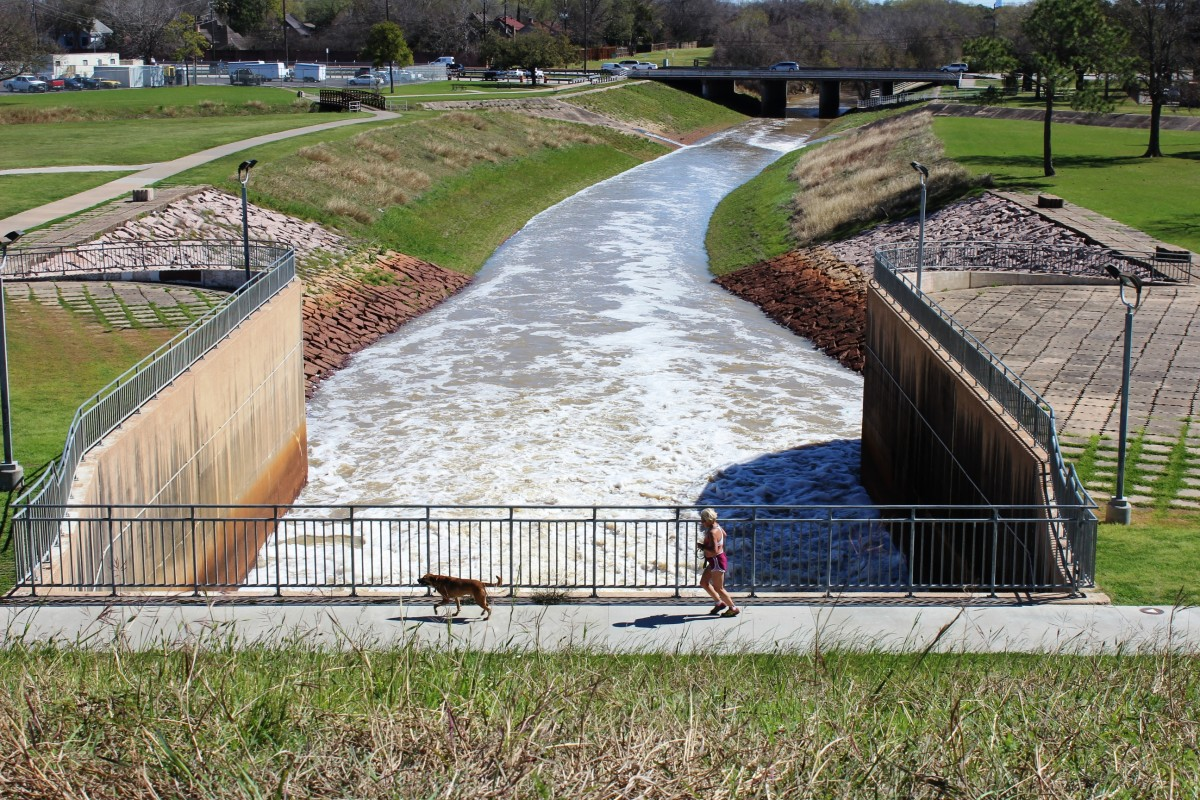 Gates allow the controlled release of water into Buffalo Bayou