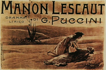 Poster for the premiere of Puccini's Manon Lescaut