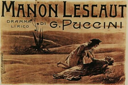 Poster for the premiere of Puccini's Manon Lescaut