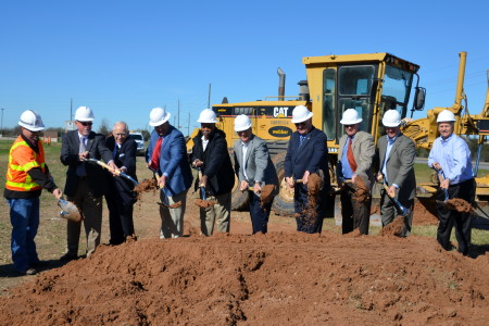Officials in Fort Bend County turn shovels at last month's groundbreaking for the FM 1093-Westpark Tollway Extension project.