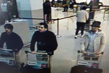 Investigators in Belgium are asking the public's help in identifying the man on the far right, who was seen at the Brussels airport before this morning's terrorist attack. This image, provided by the Belgian Federal Police in Brussels, shows three men who are suspected of taking part in the attacks at Belgium's Zaventem Airport.