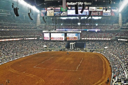 Inside of Reliant Stadium, home of the rodeo competition.