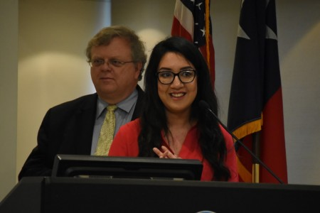 Cy-Fair senior Kathy Guerra stands with state Sen. Paul Bettencourt, R-Houston, at a press conference at Lone Star College on Wed., March 23, 2016.