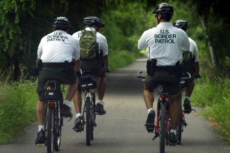 A Border Patrol bicycle unit in McAllen TX.