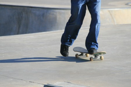 Teenager skateboarding