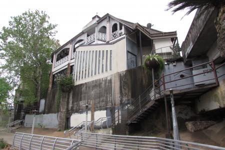 The historic Magnolia Ballroom as seen from the Buffalo Bayou Path
