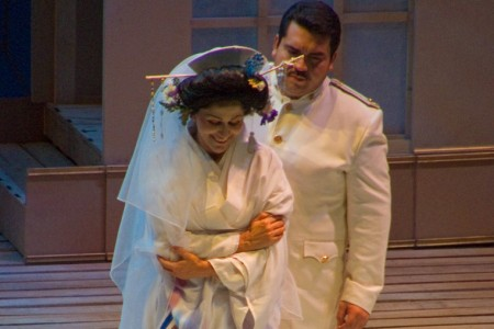 Cio-Cio San and Pinkerton in a scene from Puccini's Madama Butterfly