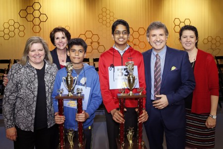 Connie Hill, Lisa Shumate, Ernie Manouse and Capella Tucker of Houston Public Media congratulate the 2016 co-champions, Nihar Janga and Shourav Dasari.