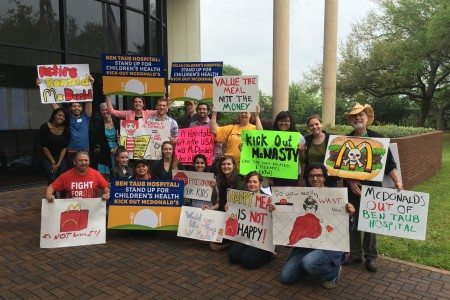 Protesters with Corporate   Accountability International rallied outside Harris Health System on March 31 over the McDonald's in Ben Taub.