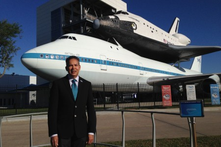 William Harris has just started as the new CEO at Space Center Houston. He says Independence Plaza, which appears in the backdrop displaying a replica of NASA's Independence space shuttle mounted on top of the original NASA 905 shuttle carrier aircraft, is one of the biggest draws in the complex.