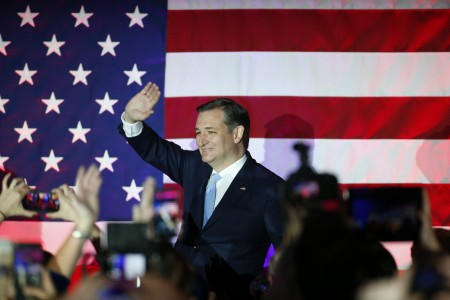 Ted Cruz, the projected winner of the Wisconsin Republican primary, at an event Tuesday night in Milwauke.