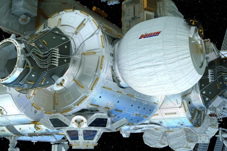 An artist's rendering of the BEAM inflatable annex attached to the side of the International Space Station.