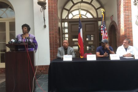 May Walker, Constable Precinct 7 speaks at Memorial Hermann press conference about the shooting of Deputy Constable Alden Clopton.