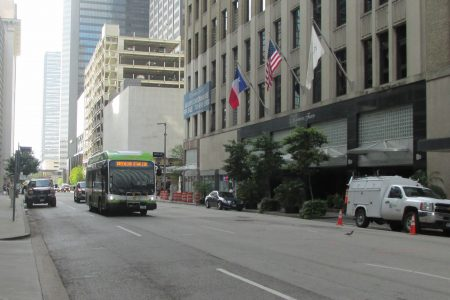 greenlink bus in downtown Houston