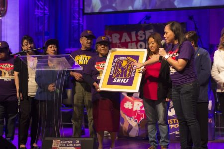 Janitors who are represented by SEIU Texas held a convention in Houston on April 2nd during which the union honored some of the first janitors who joined it. The union's main goal is to get $15 per hour and sick days.