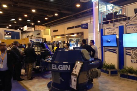Attendees inspect new oil and gas technology at the Offshore Technology Conference