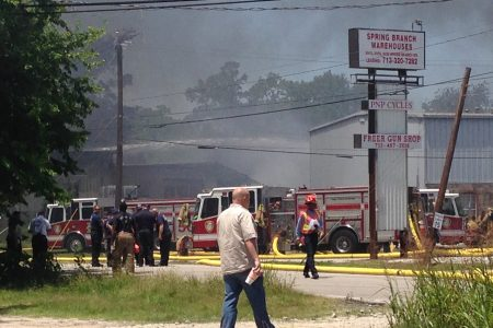 Fire at and around the Custom Packaging and Filling company in West Houston.