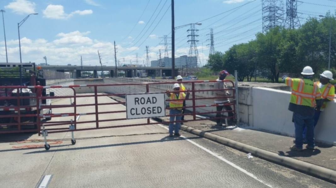 The Harris County Toll Road Authority has installed two gates at the Westpark Tollway eastbound ramp onto Post Oak Boulevard to prevent motorists to drive into high water.