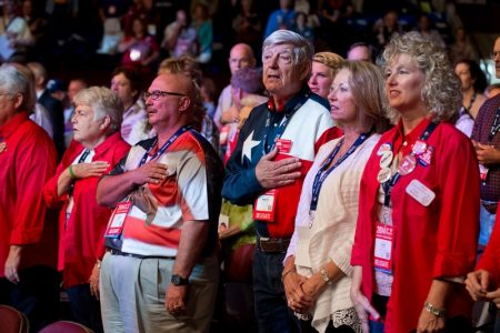 Front row delegates at Day 3 of the Texas Republican Convention in Fort Worth,