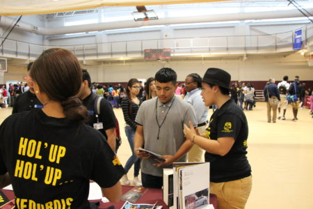 Huston-Tillotson Angelica Erazo gave her pitch about the benefits of historically black colleges and universities to Luis Betancourt, a high school freshman already thinking about college. The Houston Independent School District held an HBCU college summit at Texas Southern University in May.