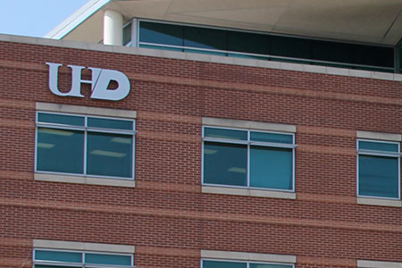 side of building with UHD logo