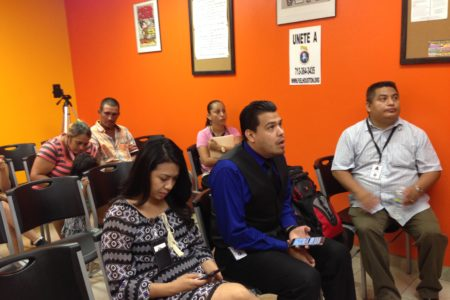 Undocumented immigrants and advocates watched the U.S. Supreme Court's decision live at the Houston office of Immigrant Families and Students in the Struggle, commonly known as FIEL by its acronym in Spanish.
