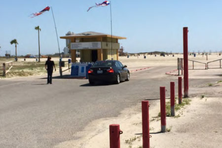The entrance to Stewart Beach in Galveston