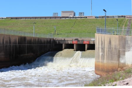 The dam at Barker Reservoir in Feburary 2016