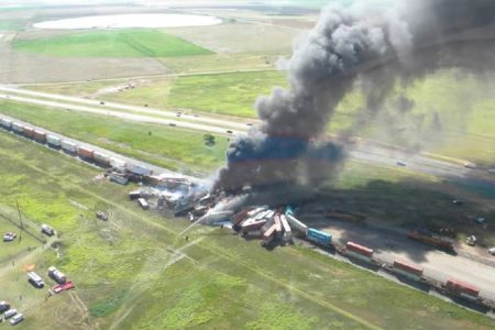 An aerial view of the site where two trains crashed near Amarillo, TX on June 28.