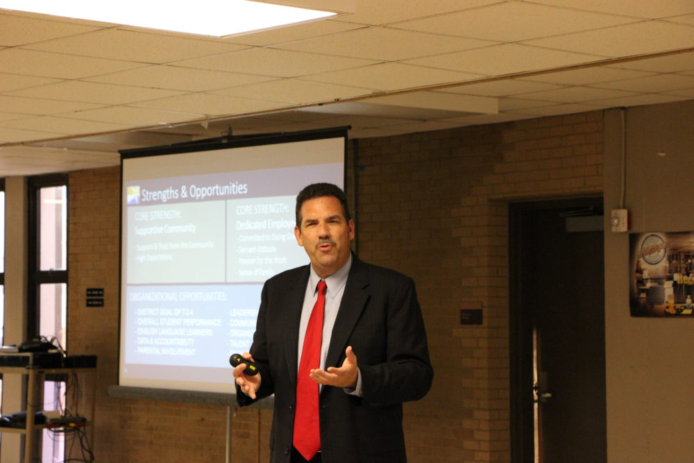 """Spring Branch ISD Superintendent Scott Muri spoke at a community meeting about becoming a """"district of innovation."""""""