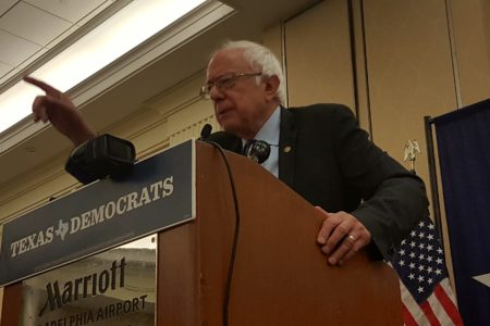 Bernie Sanders Breaks Tension While Speaking To Texas Delegates