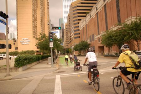 The Lamar Street bikeway connects downtown Houston to the Buffalo Bayou. The ultimate goal of the City of Houston's bike plan is to have a network of over 1,780 miles by the year 2026.