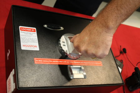 At the University of Houston, people with concealed handgun licenses can store their weapons inside free gun safes at the police station. The bio-metric safe is programmed to someone's fingerprint.