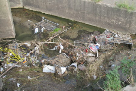 Abandoned shopping carts litter a ditch along Beechnut Street.