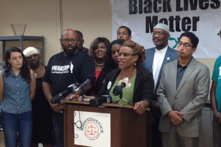 Tarsha Jackson, director of the Texas Organizing Project, TOP, in Harris County, led a press conference held at TOP's headquarters in Houston to launch the 'Right 2 Justice' campaign.