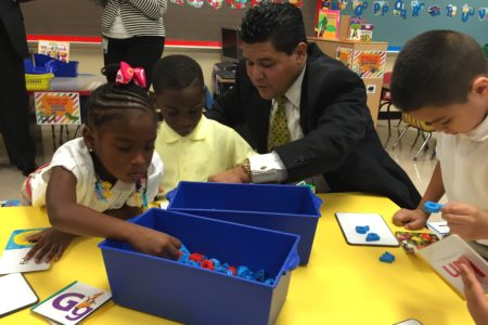 At Law Elementary in South Houston, Carranza observed several dual language classrooms for young students.