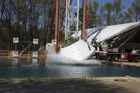 Orion GTA vertical drop test at NASA LaRC's Impact and Splash Basin.