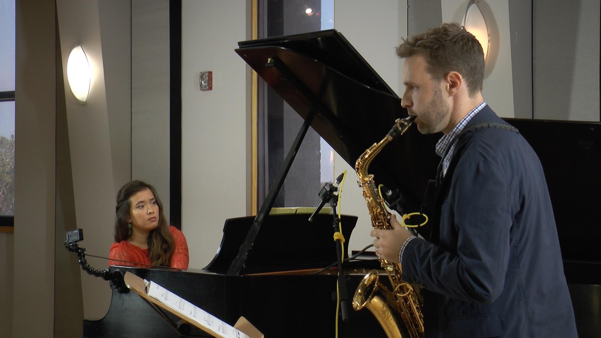 Laura Bleakley and Dan Gelok perform in the Geary Studio.