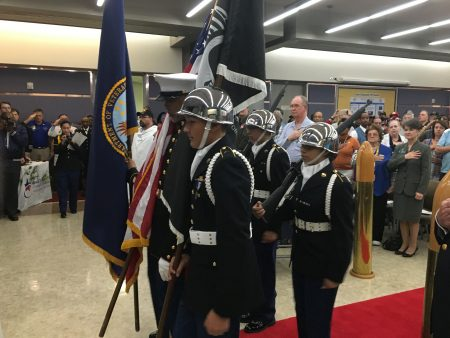 Cadets from Ceasar E. Chavez High School JROTC
