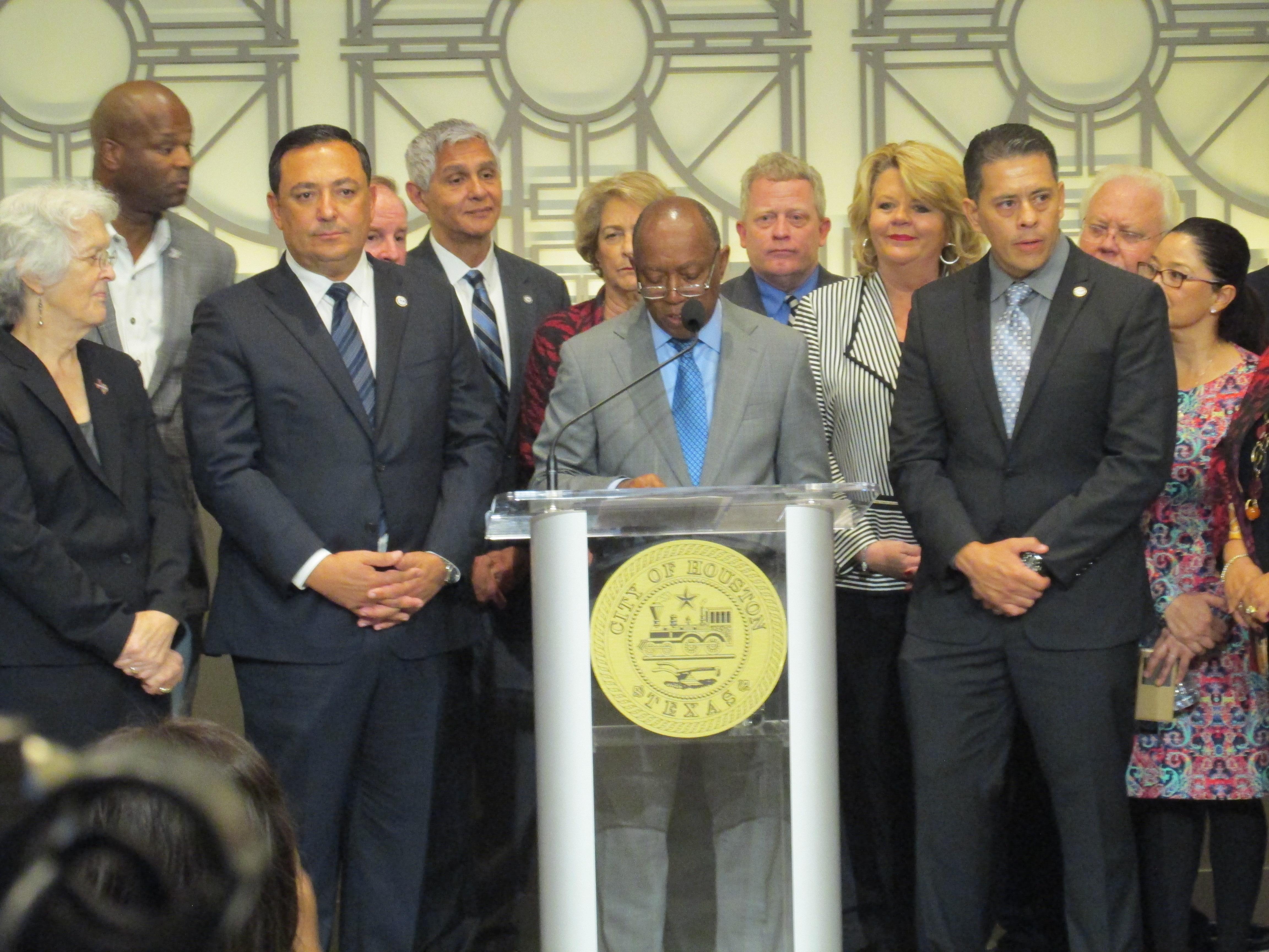 From L to R: Art Acevedo, Mayor Sylvester Turner, Samuel Peña