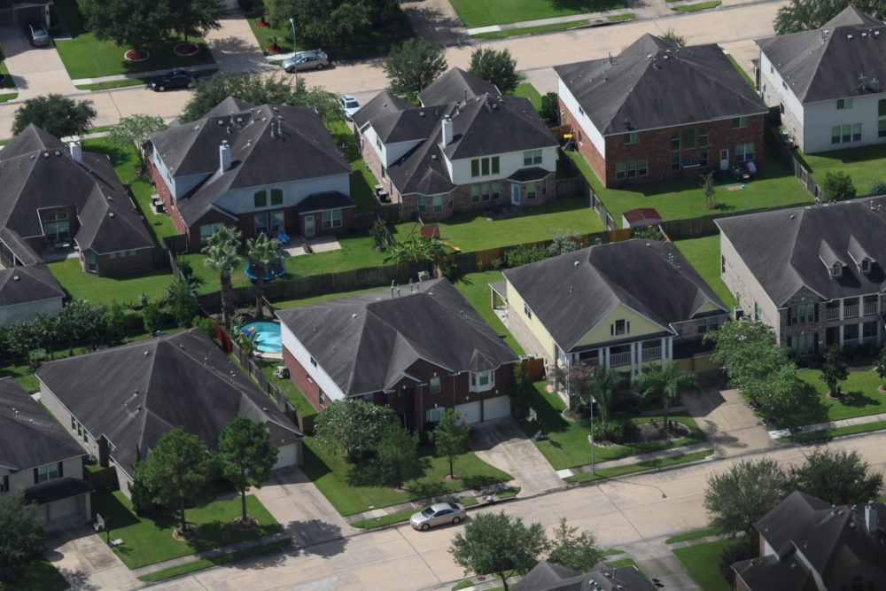 Aerial shot of single-family homes