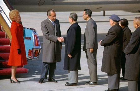 President Richard Nixon shakes hands with Chinese Premier Zhou Enlai